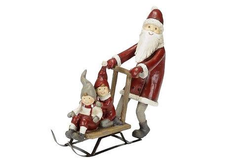 Babbo Natale con slitta e bambini 17,5 cm, resina