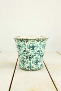 Portavaso decorato bianco e verde h 11,5 cm