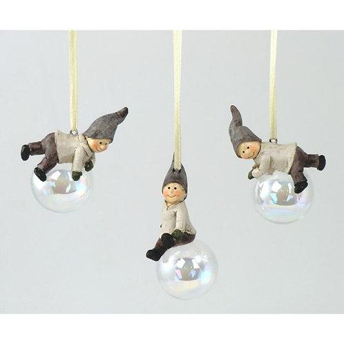 Gnomi su palla di vetro grigio 6 cm