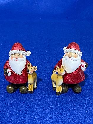 Babbo Natale con renna, 8 cm