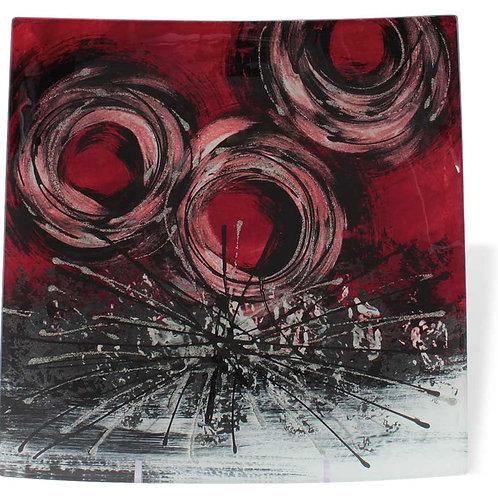Vassoio quadrato con cerchi rossi 24 cm