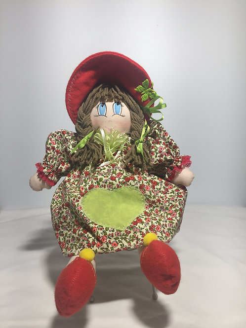 Bambola di pezza, verde fiori, 40 cm