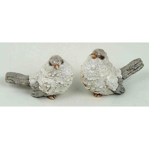 Uccellini 13 cm bianchi/marroni