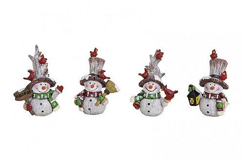 Pupazzi di neve con addobbi 8 cm, resina