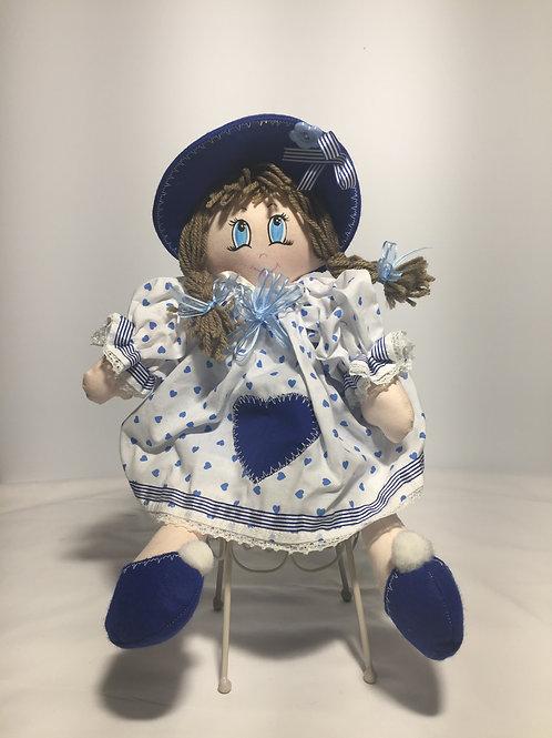 Bambola di pezza, cuori azzurri, 40 cm