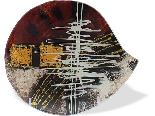 Vassoio ovale con riquadri oro 19 cm