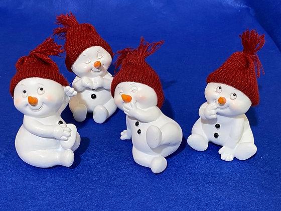 Pupazzi di neve con cappuccio rosso, 11 cm