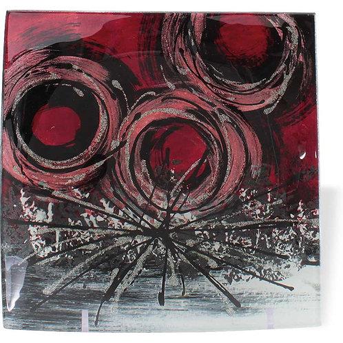 Vassoio quadrato con cerchi rossi 16 cm
