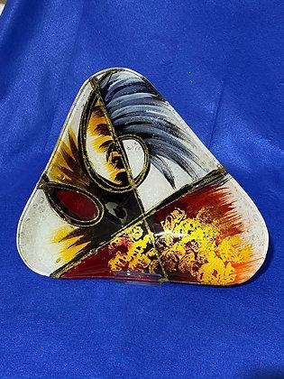 Vassoio triangolare grande disegno oro