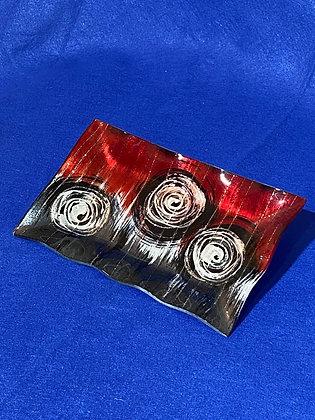 Vassoio rettangolare onda disegno rosso