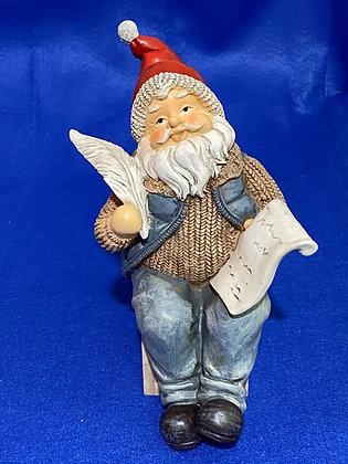 Babbo Natale seduto con lettera, 19 cm