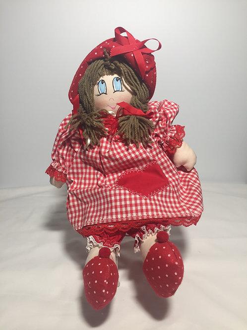 Bambola di pezza, rosso tovagliato, 40 cm