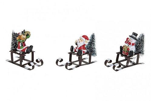 Renna, Babbo Natale, Pupazzo su slitta 6 cm, resina