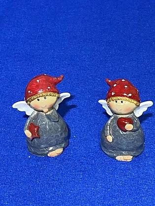 Angeli grigi con cappello rosso, 5 cm