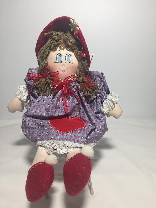 Bambola di pezza, viola, 40 cm