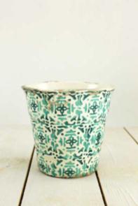 Portavaso decorato bianco e verde h 14,5 cm
