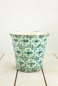 Portavaso decorato bianco e verde h 18 cm