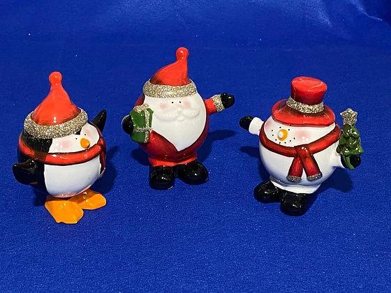 Pinguino, Pupazzo di Neve, Babbo Natale, 6 cm