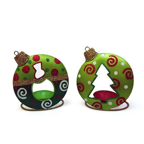Portacandele con albero di Natale in latta 10 cm