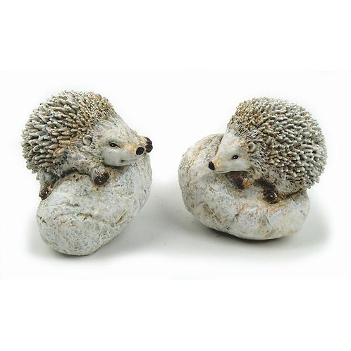 Porcospino su sasso 9,5 cm bianco