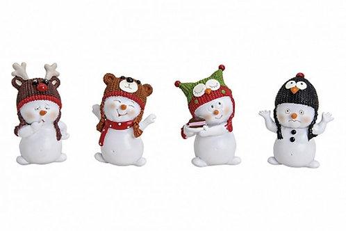 Pupazzi di neve con cappucci colorati 8 cm, resina