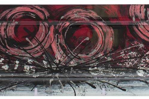 Vassoio rettangolare con cerchi rossi 40 cm