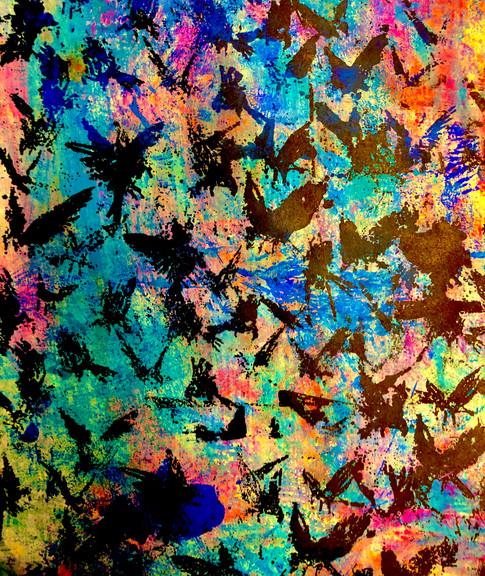 Rainbow Bird Flock
