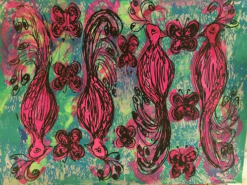 Peacock & Butterfly Custom Fabric