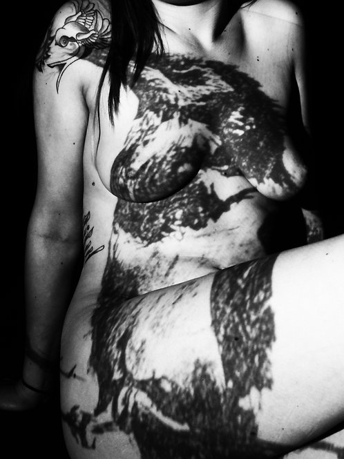 Black Bird Female Nude Torso