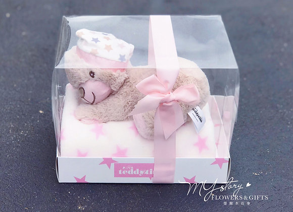 Lily Teddy Bear+Blanket Pink Gift Set