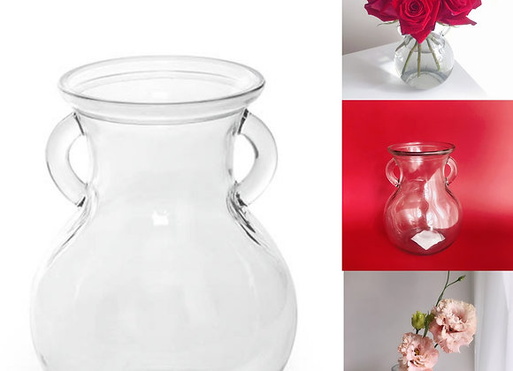 Small Glass Vase with handles (9x12x15cmH)