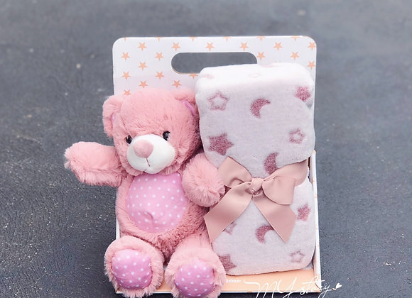 Teddy Bear +Blanket Pink Gift Pack