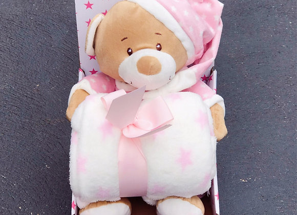 Teddy Bear+Blanket Gift Pack StarPink