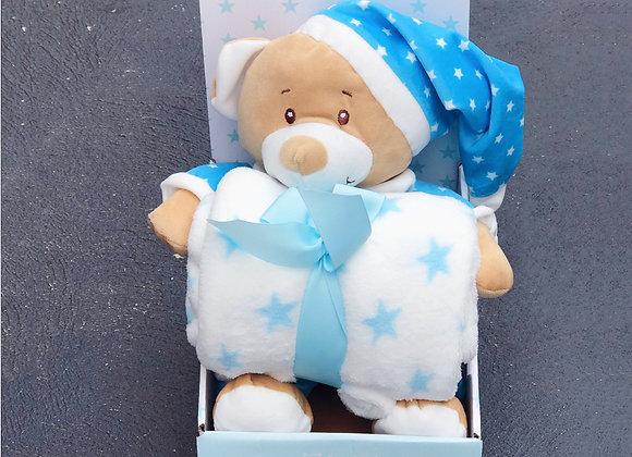 Teddy Bear+Blanket Gift Pack StarBlue