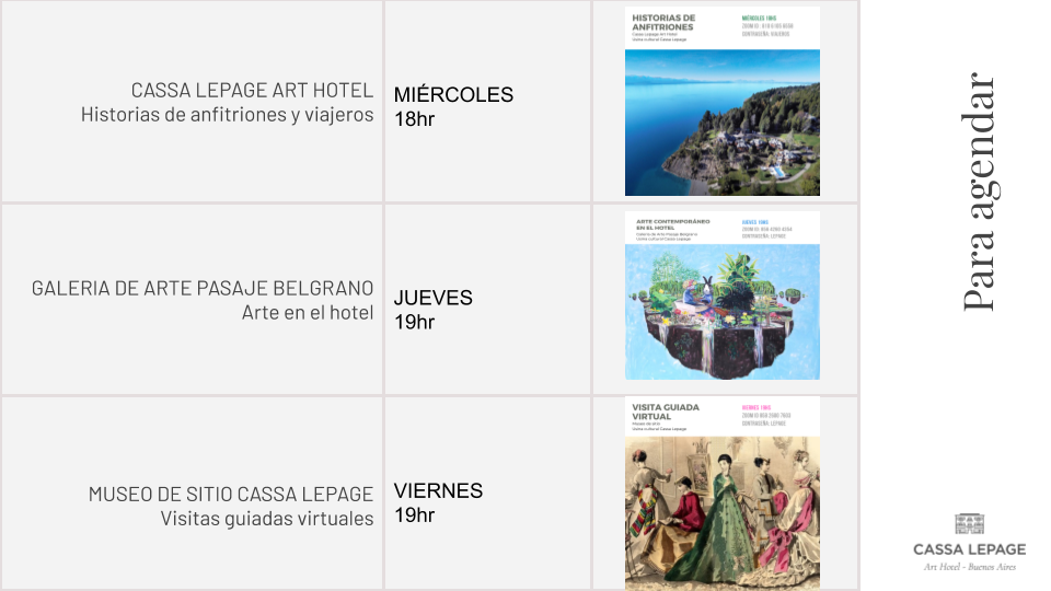 Cassa Lepage Usina Cultural - Agenda reuniones por Zoom