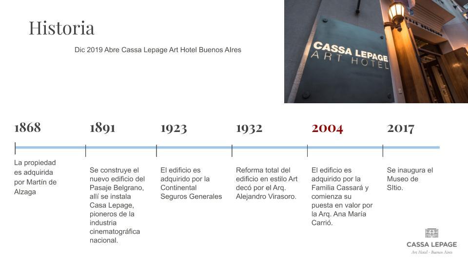 Linea de tiempo Cassa Lepage Art Hotel