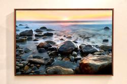 """""""Sunrise Among Rocks"""" with Walnut Float Frame"""