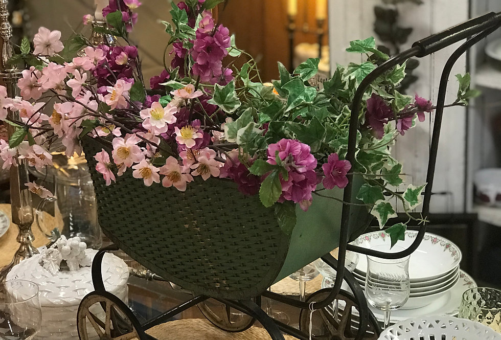 Wicker & Metal Doll Carriage