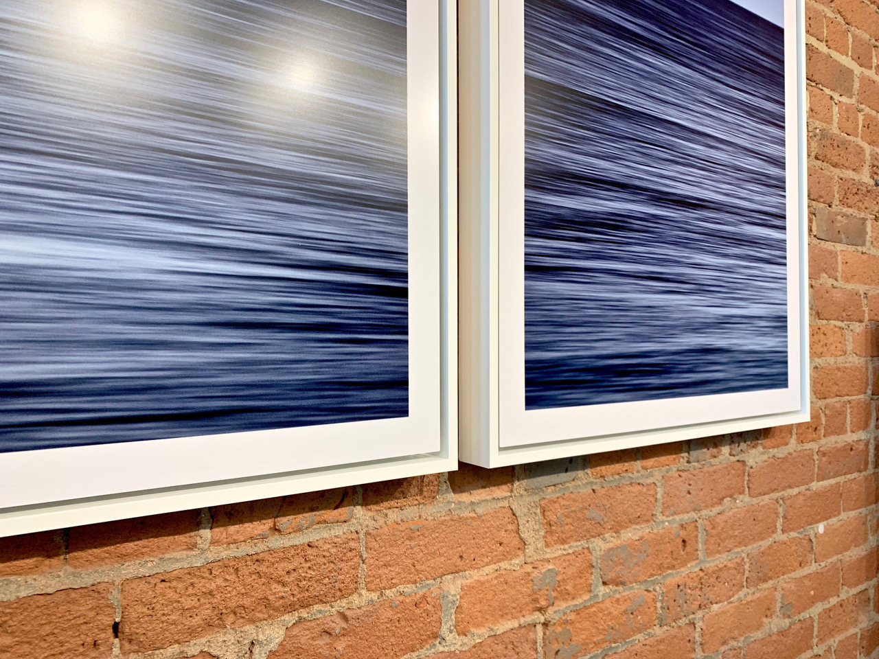 """Montauk Dawn Diptych"" ~ White Wood Float Frames"