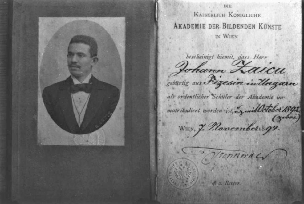 Pictorul Ioan Zaicu, document aflat în arhiva Episcopiei Romano-Catolice din Timișoara. Imaginea ne-a fost oferită de către Dr. Pr. Davor Lucacela