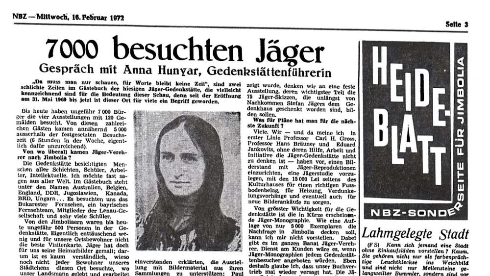 Muzeul Stefan Jäger în urmă cu aprozimativ 50 de ani. Neue Banater Zeitung; Franz Schleich; Supliment Heideblatt; 16 februarie 1972;