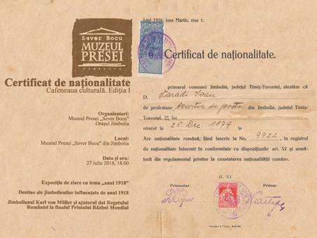 """""""Certificat de naționalitate"""" la Muzeul Presei"""
