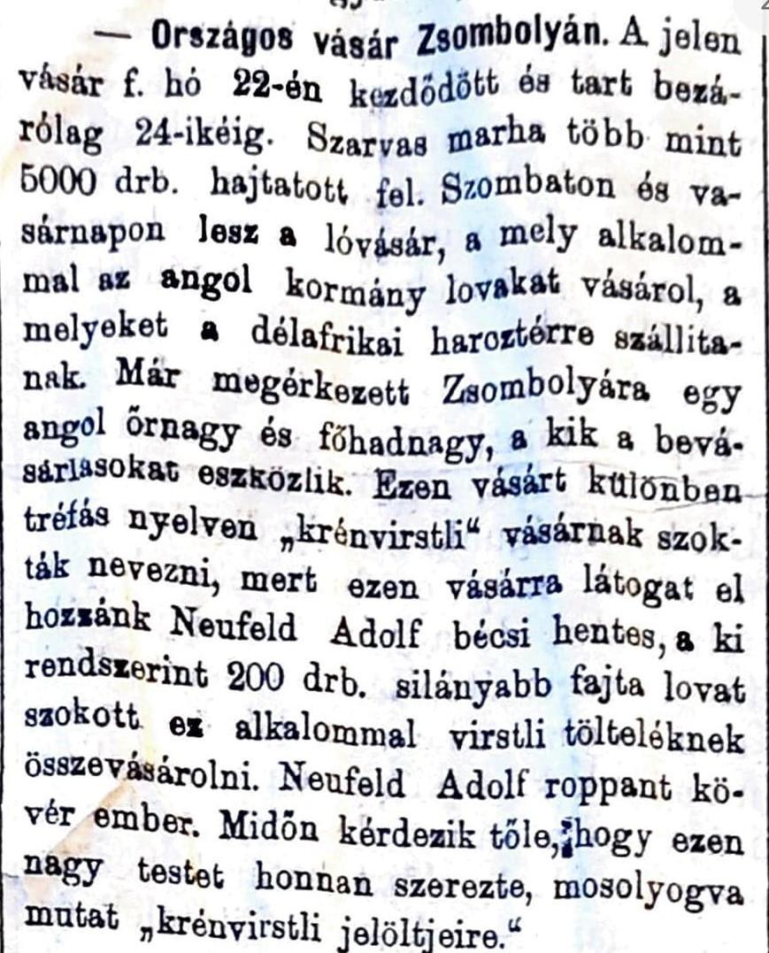 Zsombolyai KÖZLÖNY 1901