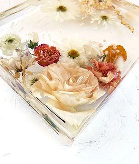 wedding flowers preserved in resin, wedding flower preservation artwork