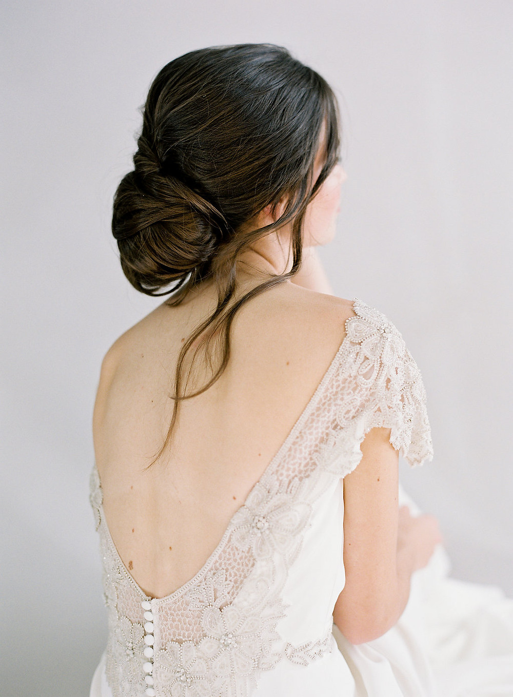Modern, Boho Simple Wedding Dress Open Back Details