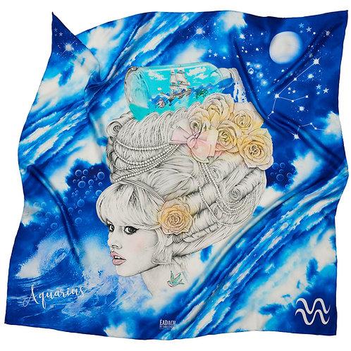 Eadach Zodiac Series Aquarius Silk Scarf by Sara O'Neill