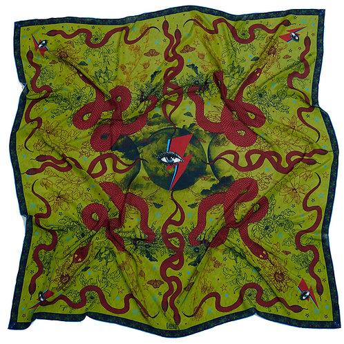 Morrigan Serpent Crepe de Chine Scarf, 130cm square