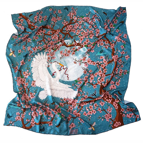 The Messenger Blue Silk Twill Scarf, 130cm square