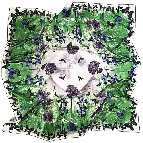 In Bloom Silk Twill Scarf. 130cm square.