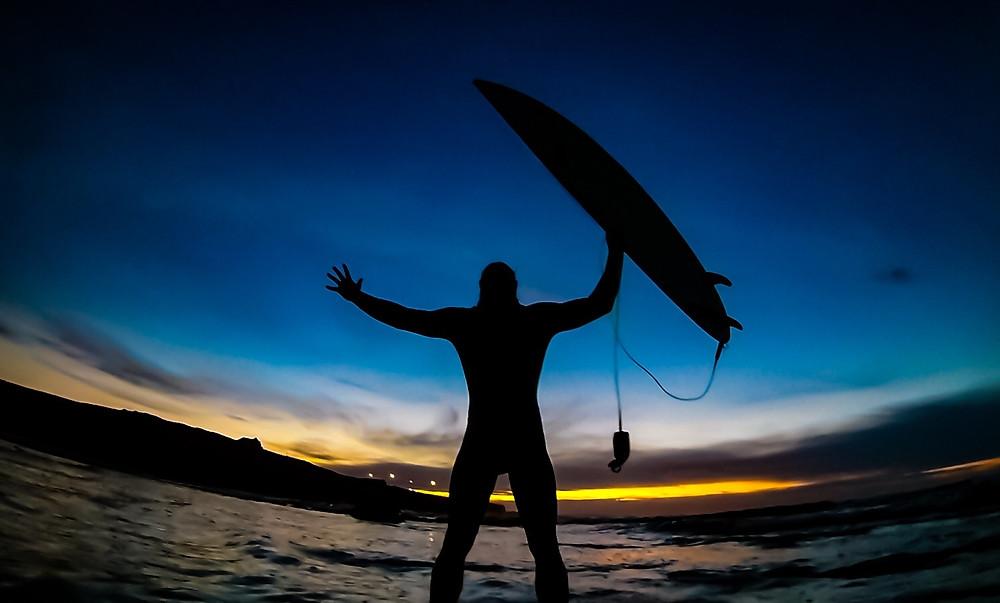 Al Mennie, irish surfing, sunset